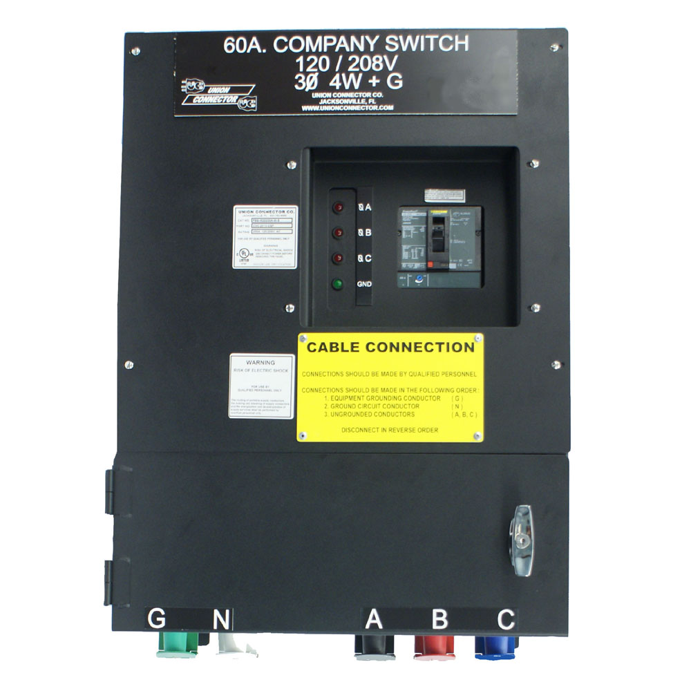 Company Switch with Series 16 Cam Receptacles and Connection Chamber – 60  Amp